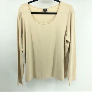 Eileen Fisher Scoop Neck Long Sleeve Cream T-Shirt